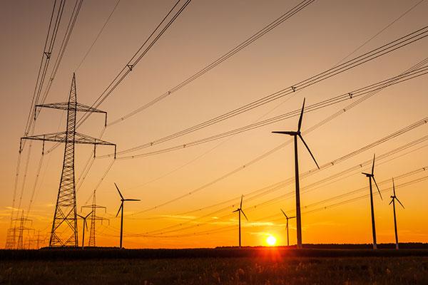 Pylons and wind turbines