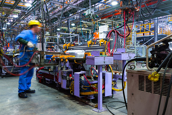 Manufacturing worker on production line