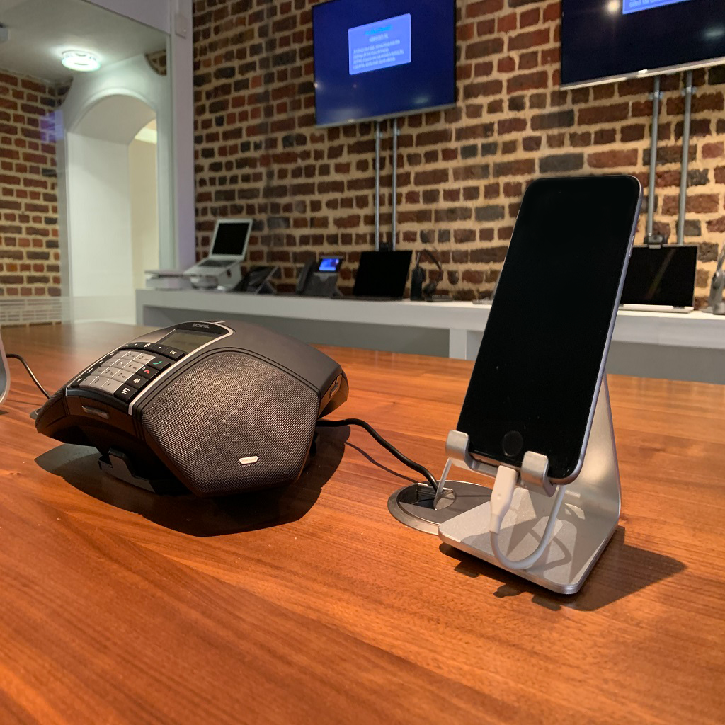 Phone on stand