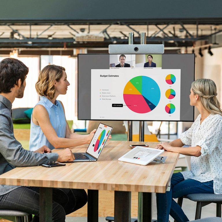 Workers in meeting room looking at screen