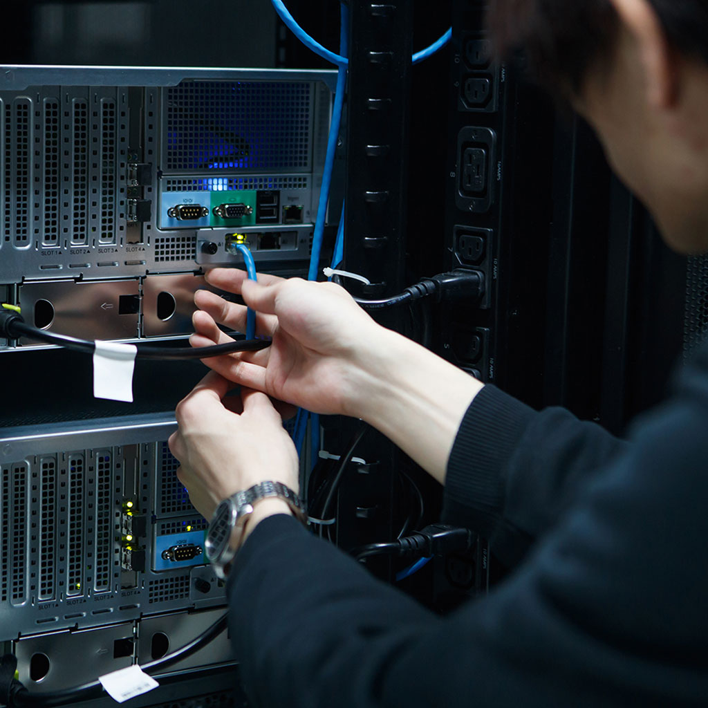 Person working on server