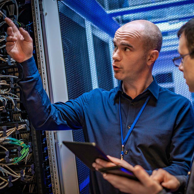 Man explaining server infrastructure