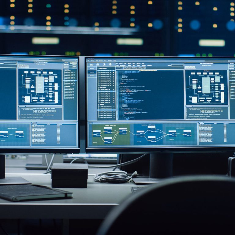 Dual computer screens with data
