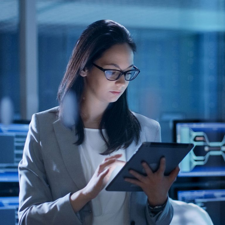 Female worker on tablet