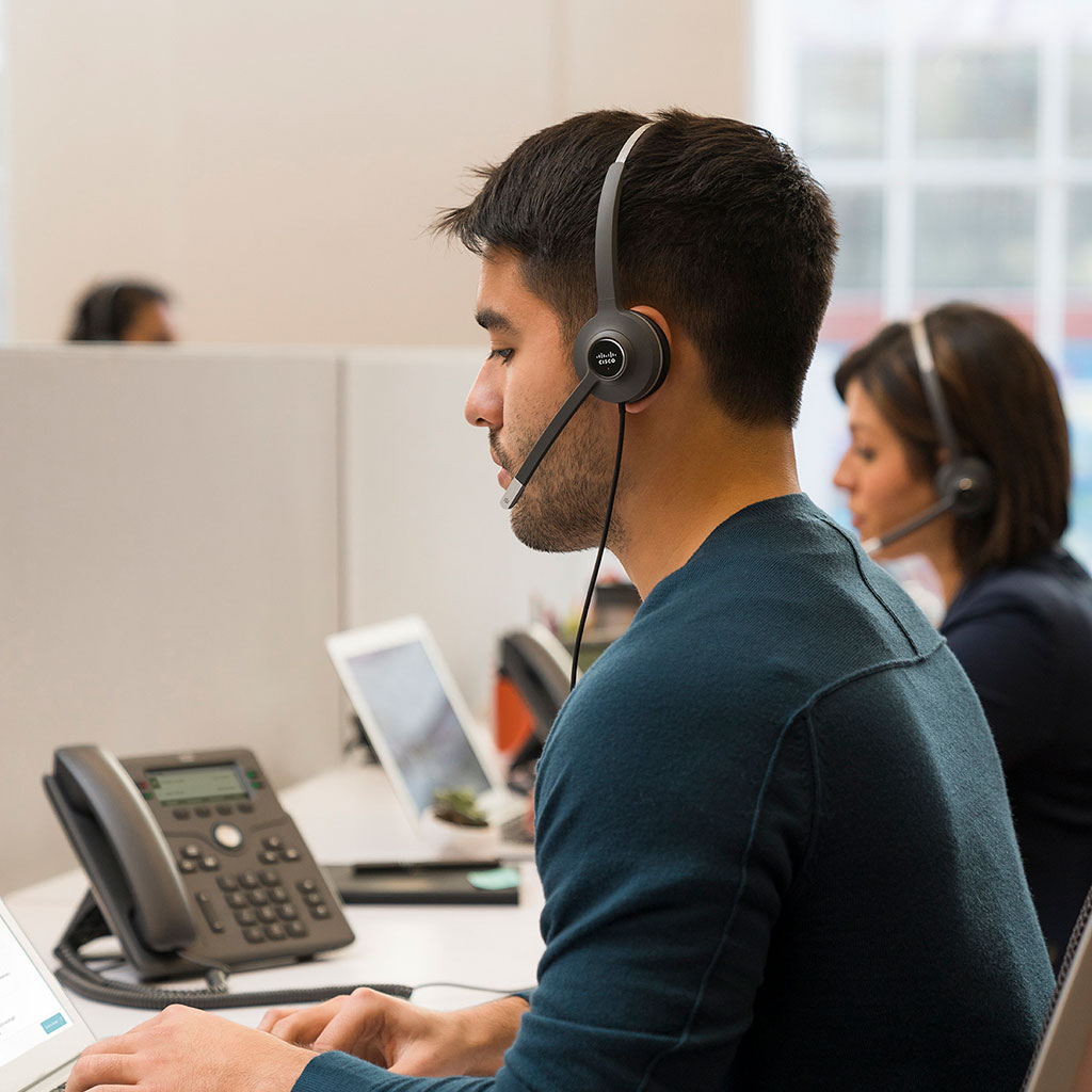 Worker with headset